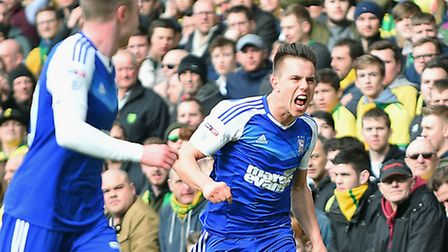 Jonas Knusden celebrates opening the scoring for Ipswich during yesterdays derby draw. Picture: PA