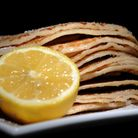 Pancakes with sugar and lemon, which are traditionally made on Shrove Tuesday to use up any remainin