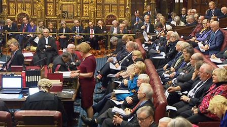 Prime Minister Theresa May sits behind the Speaker (back row) as Baroness Smith of Basildon speaks i