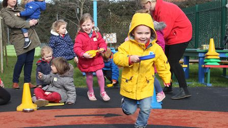Pancake races celebrate a newly revamped playground at Ladybird Pre-school Nursery, Sheringham. Pict