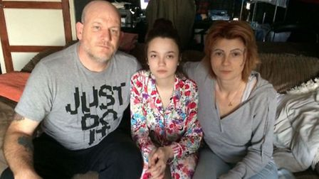 A crowdfunding page has been launched to cover funeral costs. L-R Mick, Toni and Kelly Abbott. Pictu