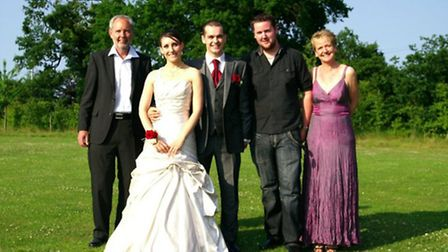 Martin Fairchild on his wedding day with Jonathan Grimsey, his mother Bridget and father Nigel who s