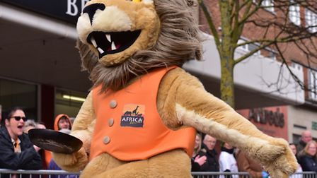 Action from the Lowestoft 2017 mascot pancake race.PHOTO: Nick Butcher