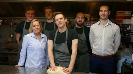Market Bistro staff prepare for their guest chef night at College of West Anglia - L to R: Charlie C