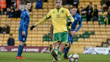 Todd Cantrell of Norwich City U23 scores the penalty versus Dinamo Zagreb U23 during the Premier Lea