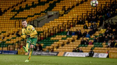 James Maddsion of Norwich City U23 hits the bar with a free kick versus Dinamo Zagreb U23 during the