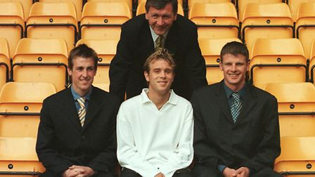 Cedric Anselin (front, centre), with Norwich City manager Bruce Rioch and fellow new signings Paul D