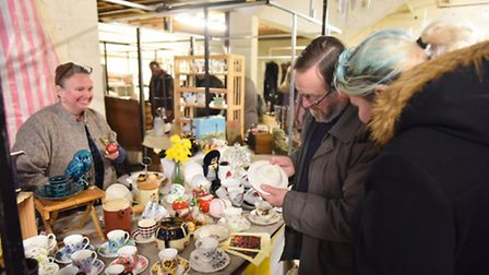 Halesworth's first brocante market being held at the Old Print Works in Halesworth. Picture: James