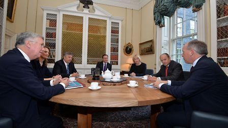 Prime Minister David Cameron (centre) meets with the governments business-led taskforce to reduce EU