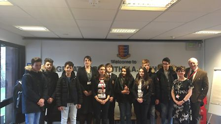 Some of the French students and Great Yarmouth High School headteacher Louise Jackson gather for a s