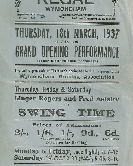 A flyer for the Regal's grand opening night on March 18 1937. Photo supplied by Philip Yaxley