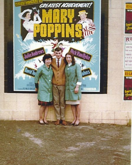 Michael Armstrong with usherettes when Mary Poppins was screened in November 1965. Photo supplied by