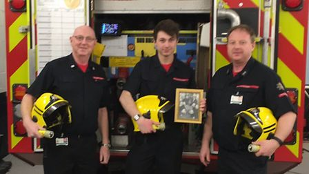 Pictured, from left to right: Roger, Tom and Paul Richardson at Sheringham fire station. Picture: D
