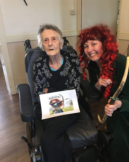 Marcia Hughes dressed up for World Book Day with Thorp House resident Marie Smith. Picture: Kingsley