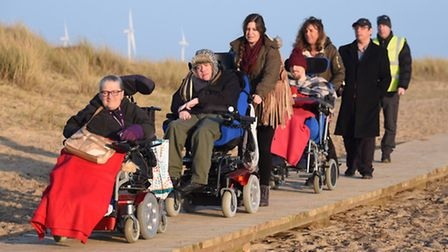 Library photo of members of Centre 81 using the new boardwalk in North Denes. Picture: DENISE BRADLE