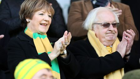 Norwich City owners Delia Smith and Michael Wynn Jones. Picture: PA