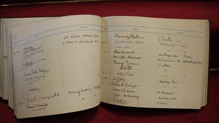 Part of the Visitors' Book at Blickling Hall showing the influential visitors to that July 1938 coun