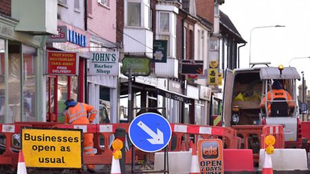 Businesses remain open as usual as work has started on replacing the ageing gas mains on Bridge Road