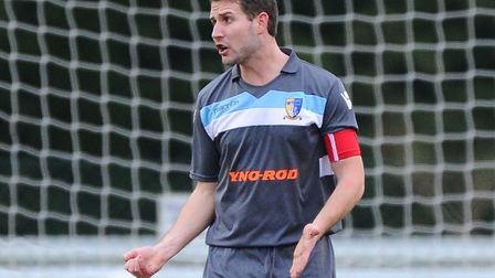Norwich United's Andy Eastaugh put through his own net against Haringey Borough. Picture by Seb Daly