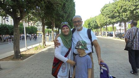 Hajira Ben Moussa, left, with husband Khaled and son Chedhli. Picture: Hajira Ben Moussa