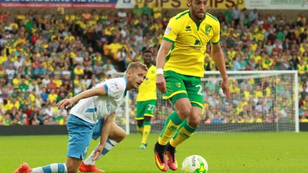 Ivo Pinto goes on the attack for Norwich City against Sheffield Wednesday earlier this season. Pict