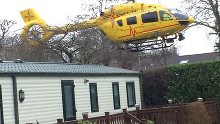 The East of England Air Ambulance was called to Woodland Holiday Park in Trimingham on March 3. Phot