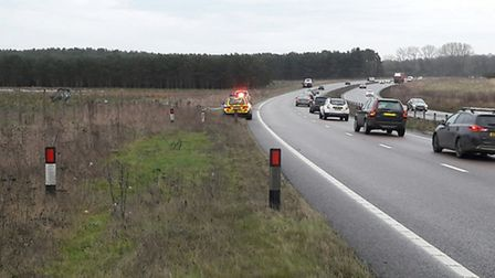 An accident on the A11 northbound near Elveden has closed the carriageway. Picture: @NSRoadsPolicing