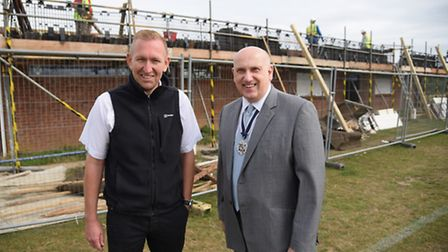 Eddie Jack, left, St Andrews FC chairman, and Michael Banham, Norfolk County FA chairman, at St Andr