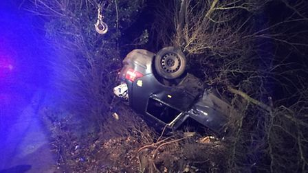 At the scene of a road traffic accident near Diss. Picture: COURTESY OF SOUTH NORFOLK POLICE