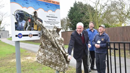 The 100th Bomb Group museum at Dickleburgh unveil a new sign funded by a veterans son in memory of h
