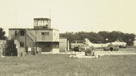 Photo from the archives of the 100th Bomb Group who were based at Thorpe Abbotts with their B17 Flyi