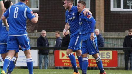 Jake Reed, right, celebrates with Shaun Bammant after scoring at Burgess Hill. Picture: Shirley D Wh