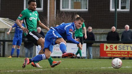 Jake Reed gets down to head in Lowestoft's second goal. Picture: Shirley D Whitlow.