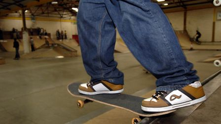 Skateboarding action from the The Park Warehouse, Great Yarmouth. For : GYM Copy : Liz Coates Ph
