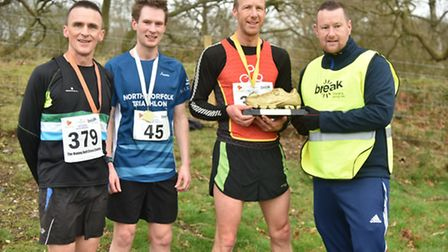 The first three over the line in the senior race - Mark Cursons, 3rd, Tom Bamford, 2nd, Iain Roberts