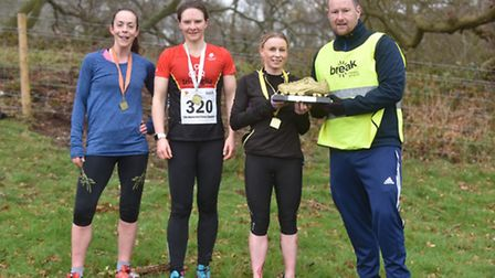 The first three ladies home in the senior race - Susan Matthews, 3rd, Becky Schofield, 2nd, Nicky A
