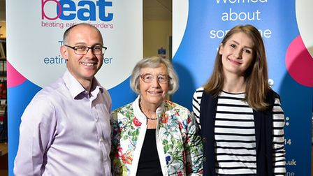 Beat charity chief executive Andrew Radford with founder Nancy Pearce OBE and Sara Preston, Beat's y