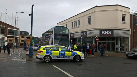 Three police vehicles and two ambulances were called to the scene in Regent Road, Great Yarmouth on