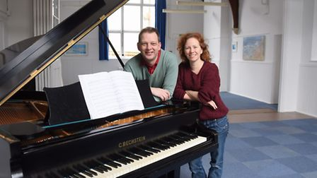 Keith Hobday and Lucy Murphy in the concert hall and gallery part of the Belfry Centre for music and