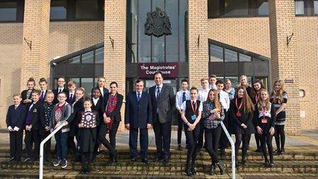 Competitors in the Mock Trial competition at Great Yarmouth Magistrates' court. Winners Springwood S