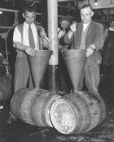 Brewery workers at the Bullards Anchor Brewery in Westwick Street, Norwich - 1st July, 1960. Photo: