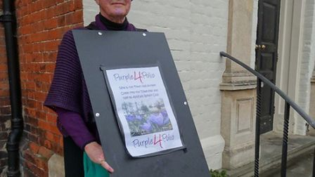 Ian Stevenson, from Aylsham Rotary Club, dressed as a crocus to highlight the campaign against polio