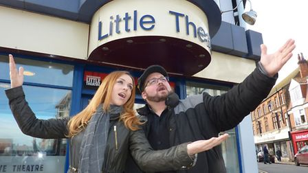Hayley Moss and Ben Lake warming up their voices outside Sheringham Little Theatre. Picture: Richard