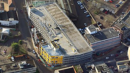 Aerial view of the car park when it was being built in December 2015. Picture: Mike Page