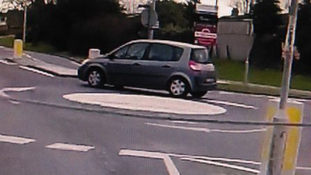 A driver caught going wrong way round a roundabout in Lowestoft while using their mobile phone. Pict