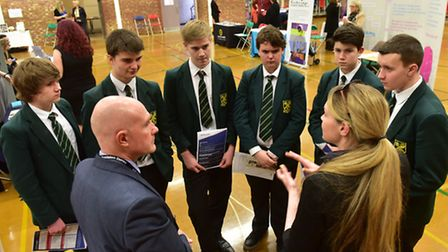 Students from St Felix School and Ormiston Denes Academy attend a careers fair.PHOTO: Nick Butcher