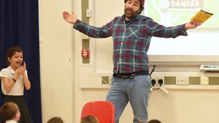 Comedian and author David O'Doherty at Lionwood Junior School.Picture: ANTONY KELLY