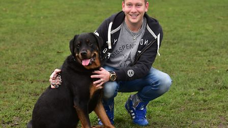 Megan the rottweiler has been hailed a hero after she let paramedics into the house to save her owne