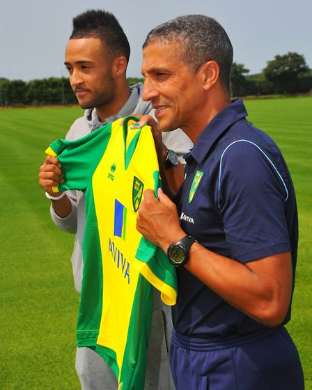 Nathan Redmond is unveiled by then boss Chris Hughton. Picture: Steve Adams