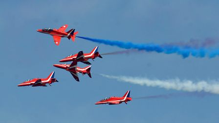 The Red Arrows display team peforming at Cromer Carnival. Picture: ARCHANT